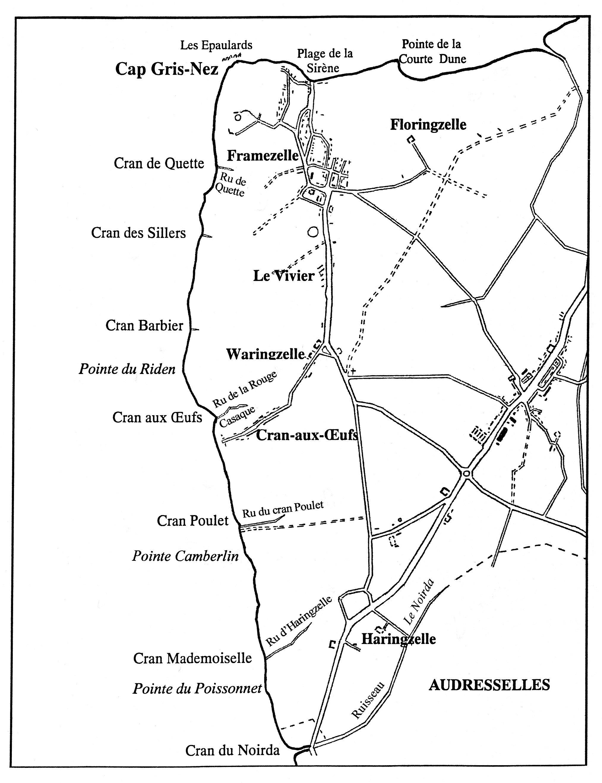 Carte des crans du Cap Gris Nez
