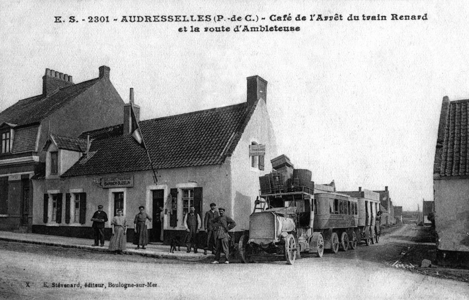 Audresselles café de l'arrêt du train Renard et la route d'Ambleteuse