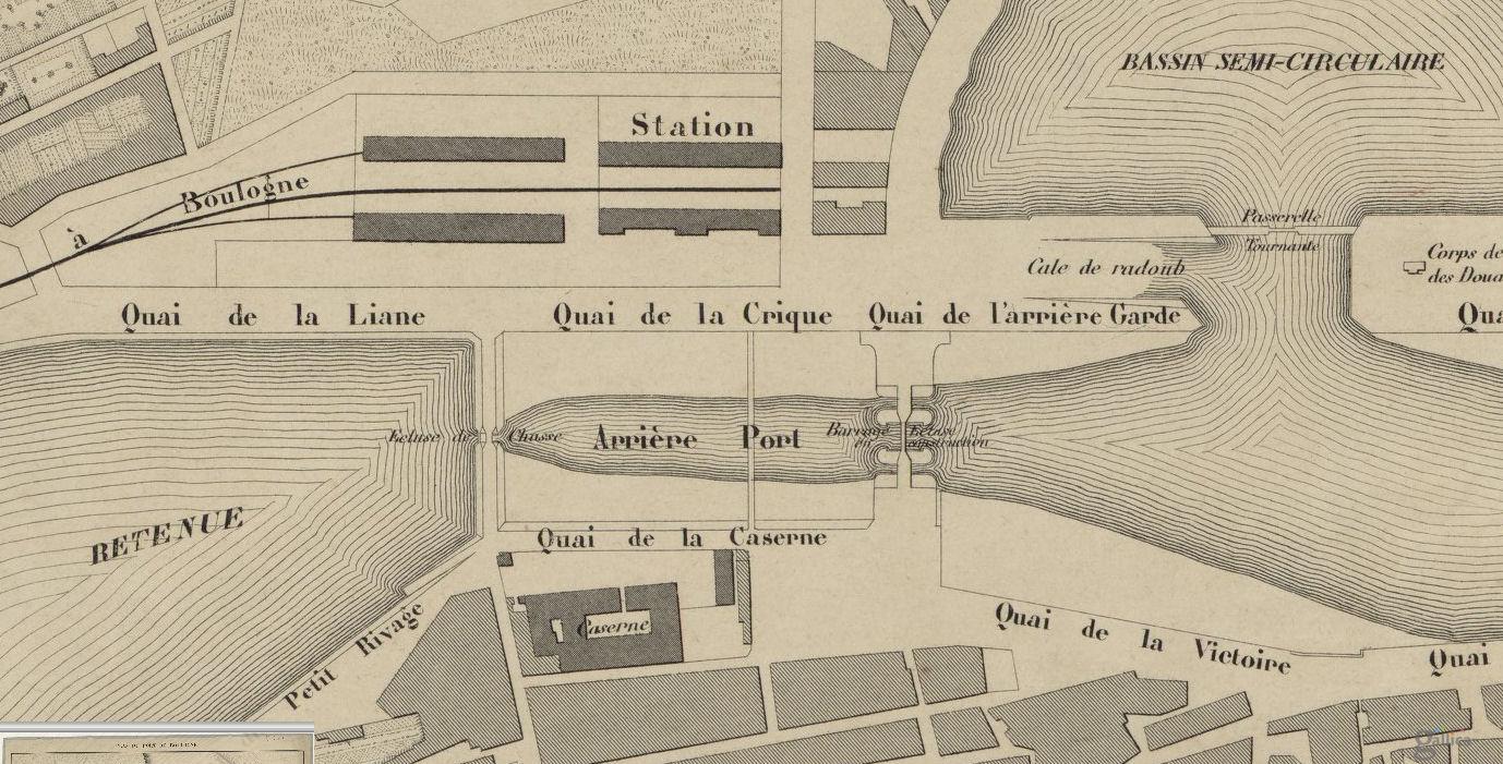 Boulogne sur mer - plan du quartier du pont Marguet en 1850