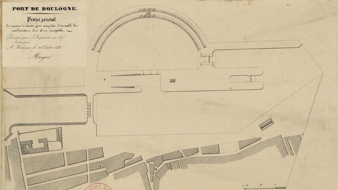Boulogne sur Mer - Projet de construction du pont Marguet daté de 1837