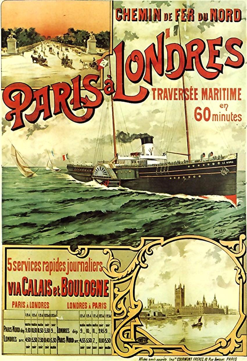 Affiche Chemin de fer du Nord Services Maritimes de Paris à Londres