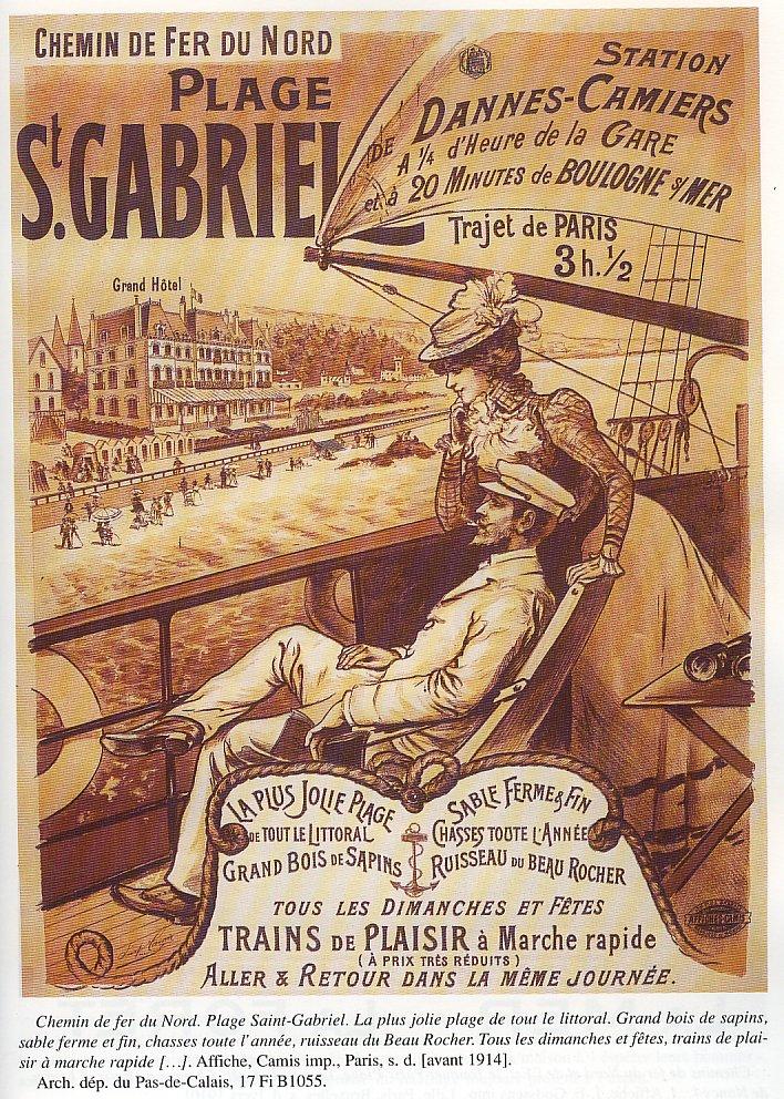 Affiche Chemin de Fer Saint Gabriel Station de Dannes Camiers