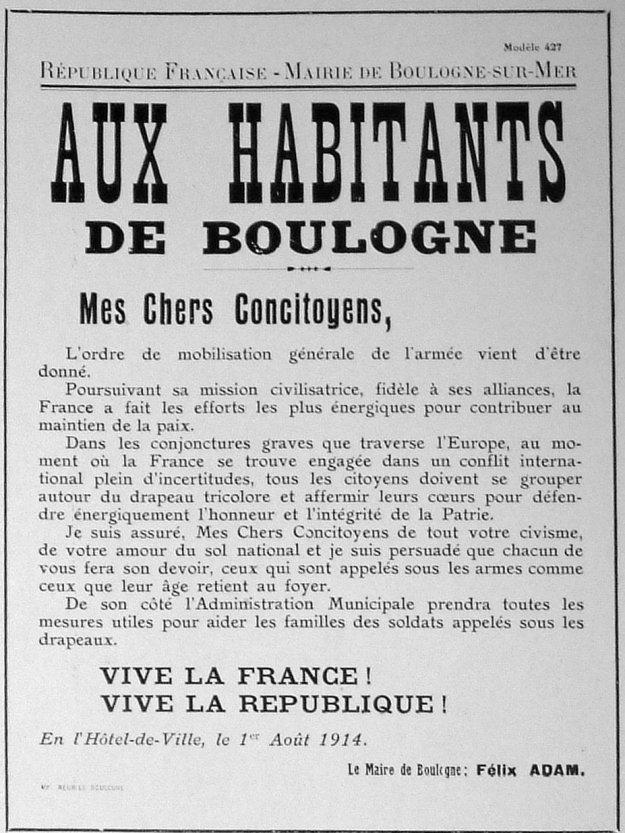 Déclaration aux habitants de Boulogne du maire Félix Adam en 1914