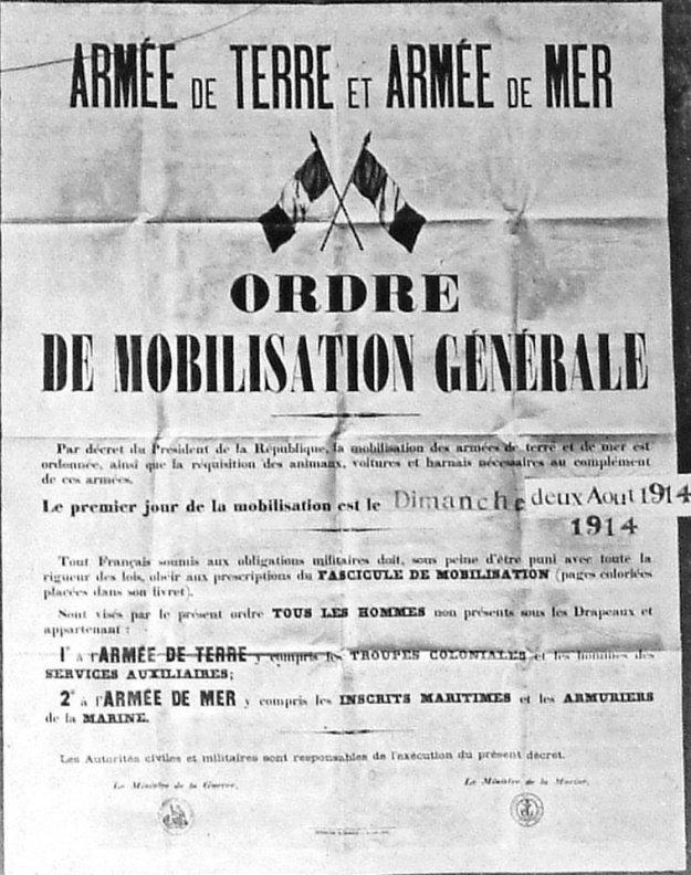 Affiche de la mobilisation générale du 02 août 1914