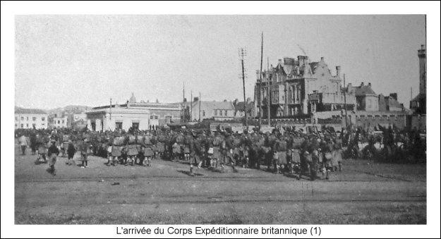 Guerre 14 l'arrivée du corps expéditionnaire britannique BEF à Bouogne sur mer