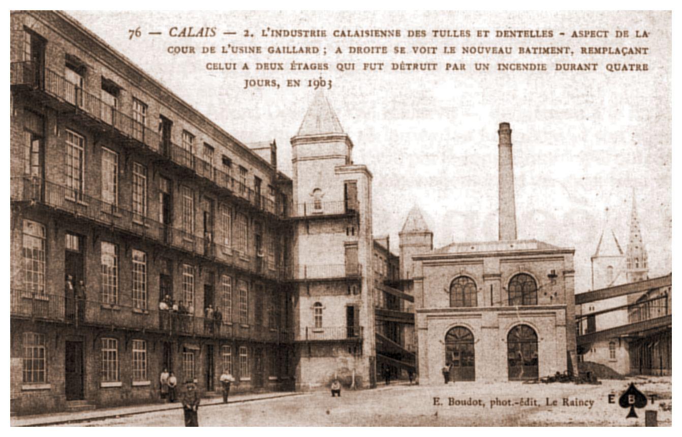 La cour de l'Usine Gaillard - usine de tulle et dentelles à Calais
