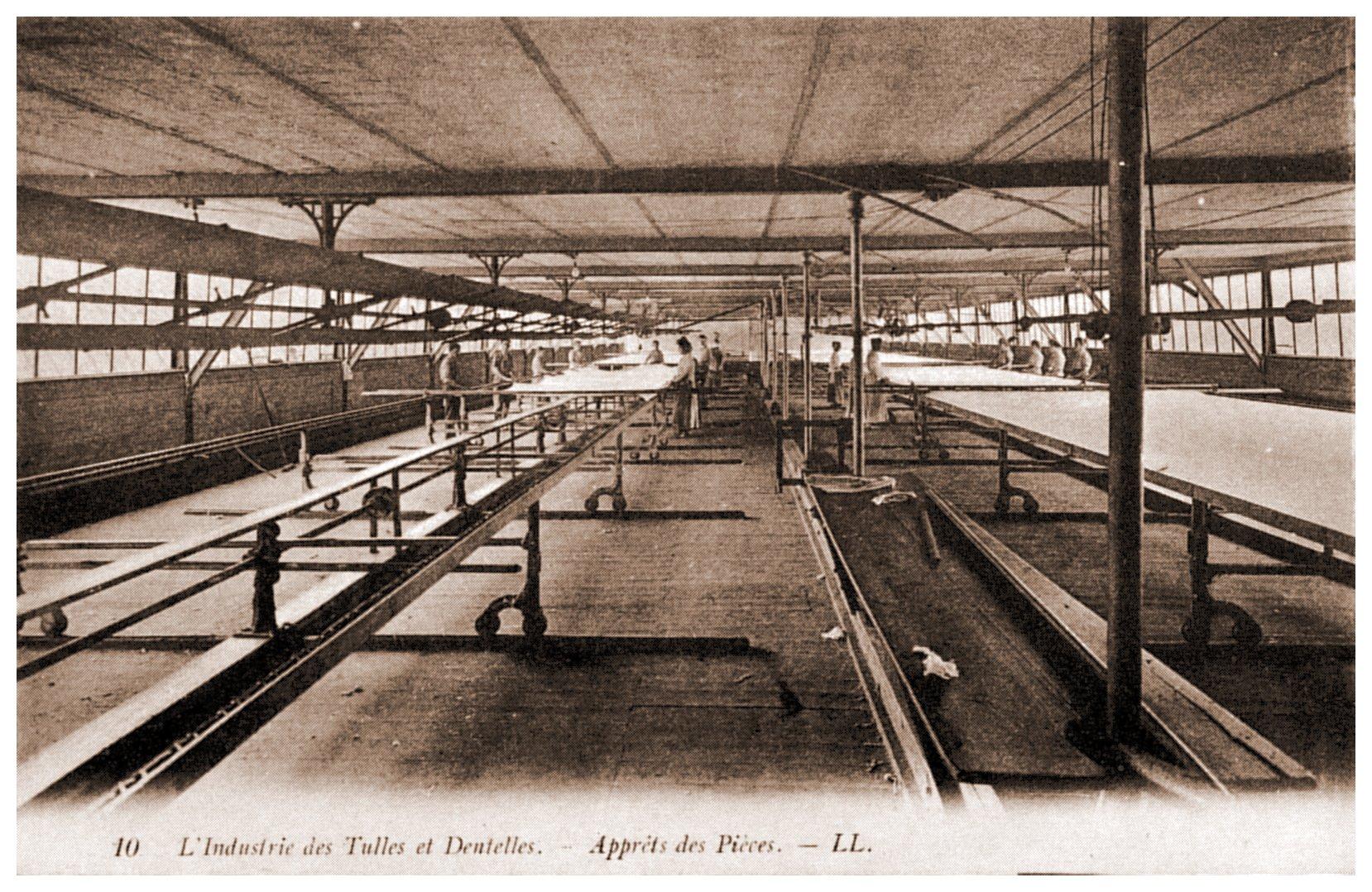 Calais - industrie du tulle et de la dentelle , l'apprêt des cartons