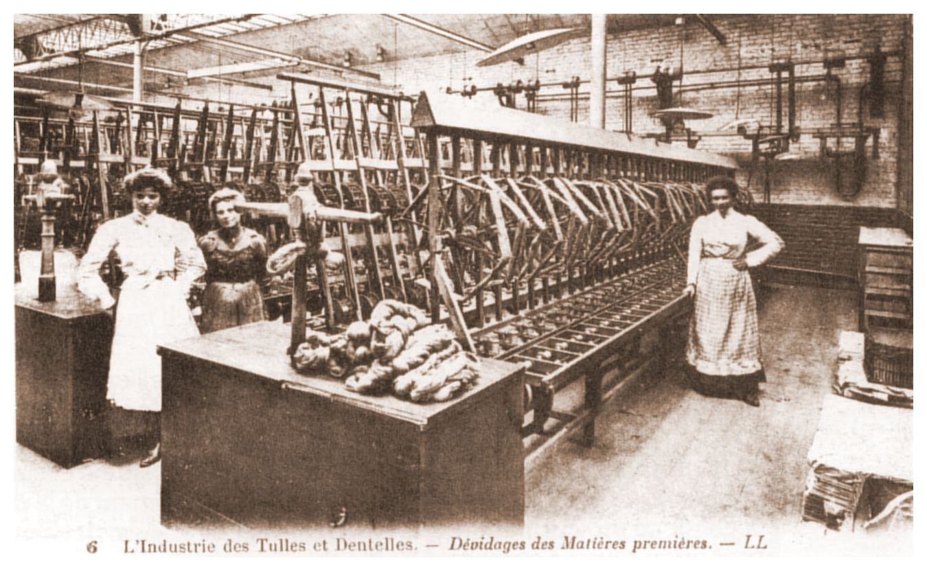 Calais et l'industrie de la dentelle - le dévidage des matières premières