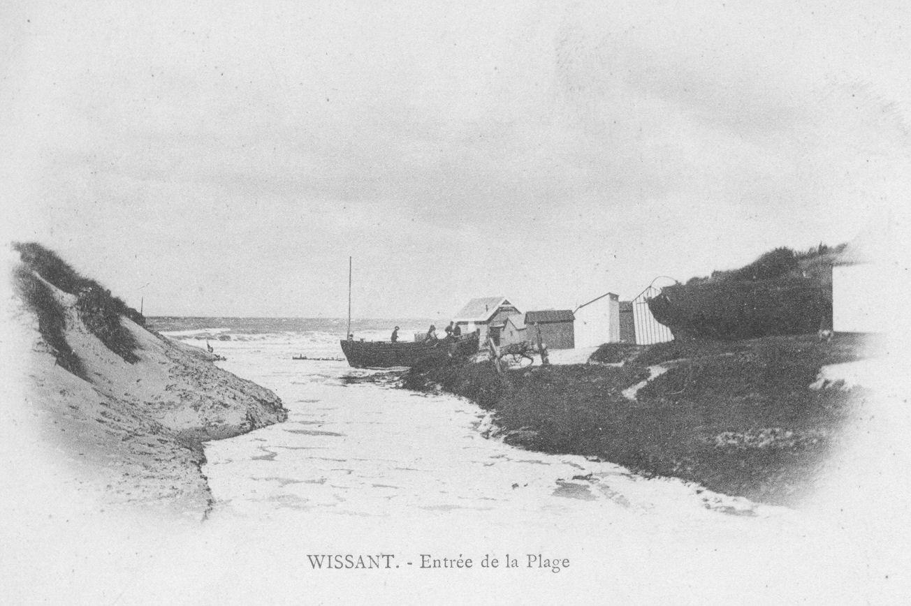 Débouché du ruisseau d'Herlen au début du XXe siècle à Wissant